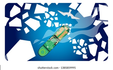 Landscape with icebreaker among the ice floes. Vector banners set with landscape illustration.