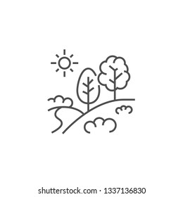 Landscape Icon. Landscape Related Vector Line Icon. Isolated on White Background. Editable Stroke.