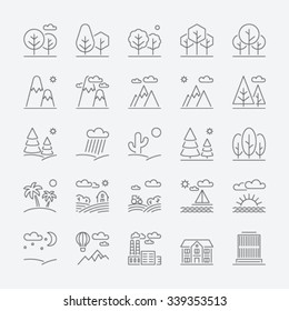 Landscape icons, thin line style, flat design