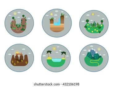 Landscape icons. Vector nature design. Landscape icons set