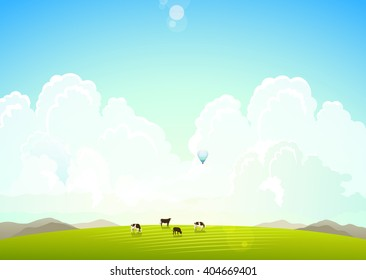 Landscape illustration of green meadows and mountains hills and clouds, cows on a green meadow. Summer background, horizon with sky and clouds