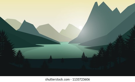 Landscape Illustration of mountain with forest and lake. Flat style vector.