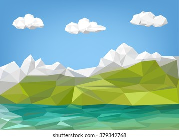 landscape illustration - mountain and lake low poly graphic . polygon illustration