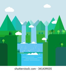 Landscape illustration. Mountain river, waterfall, mountains, hills, and clouds. Flat design vector.