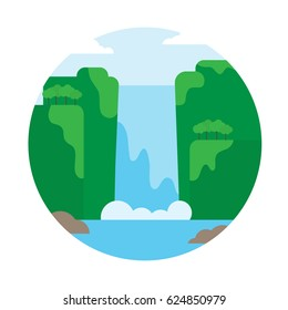 Landscape illustration. Mountain waterfall. Flat design icon.