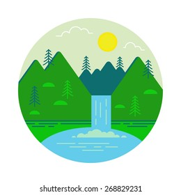 Landscape illustration. Mountain waterfall and lake. Flat design icon.