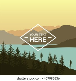 Landscape illustration of mountains near the lake at the sunset with copy space in the centre. You can use it like background for your logo, banner, or for landing page.