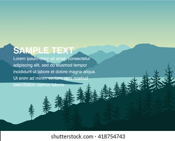 Landscape illustration of mountains near the lake and forest with copy space in the centre. You can use it like background for your logo, banner, or for landing page.