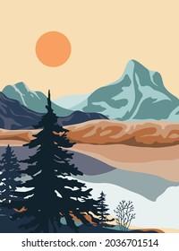 landscape illustration , nature landscape background.
