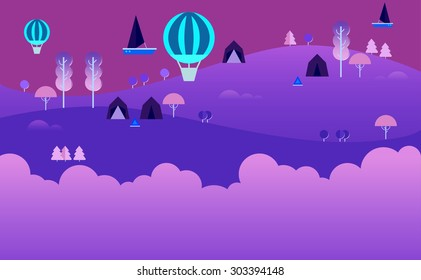 Landscape Infographics. Lake and Hills Hiking Route. Ecotourism. Flat illustration. nature and outdoor, park, garden. Ecology structure. Green energy, Fairytale background. Purples. Magic night land