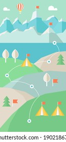 Landscape Infographics. Mountains, Lake and Hills Hiking Route