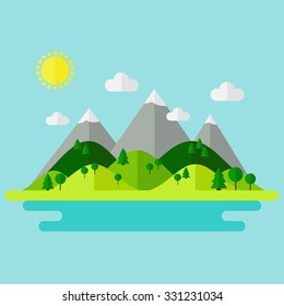Landscape. Isolated nature landscape with mountains, hills. river and trees on background. Flat style vector illustration.