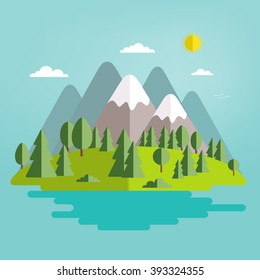 Landscape. The isolated nature landscape with mountains, hills, river and trees. Summer landscape. Flat style vector illustration. Background