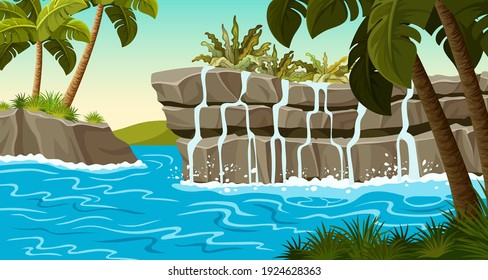 Landscape jungle with waterfall on stone rocks. Background with tropical palm trees and cascade falling water. Cartoon vector illustration.