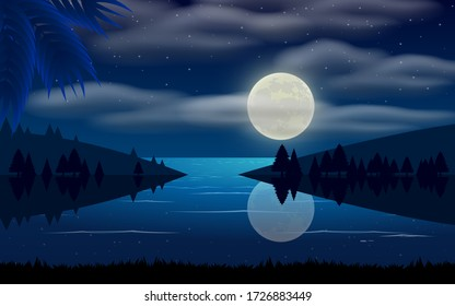 landscape of lagoon in the moon night