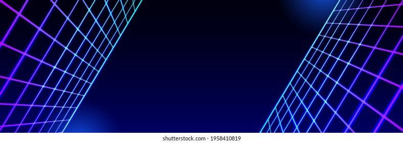 landscape laser grid perspective in space. 80s style futuristic fantastic background. 3d vector illustration