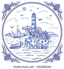 Landscape with a lighthouse. ship and boats, cobalt painting in the traditional Dutch style, Gzhel, tiles, design for porcelain tableware.