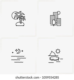 Landscape line icon set with palms on island, moonlight  and sunshine