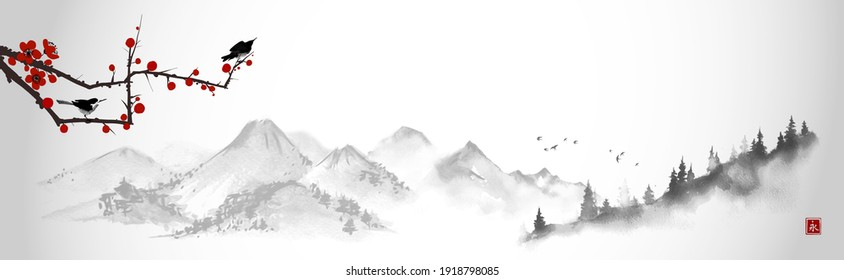 Landscape with little birds on sakura branch and distant  mountains. Traditional oriental ink painting sumi-e, u-sin, go-hua. Translation of hieroglyph - eternity