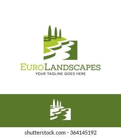 landscape logo for lawn or gardening business, organization or website