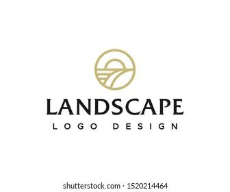 Landscape logo. Simple line art logo vector. Flat style symbol design.