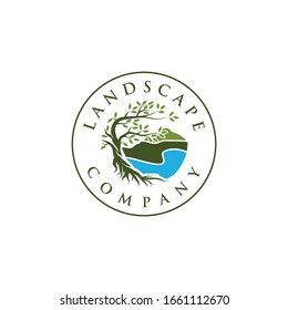 Landscape logo,Tree and roots logo design vector isolated on beach , abstract mangrove tree logo design