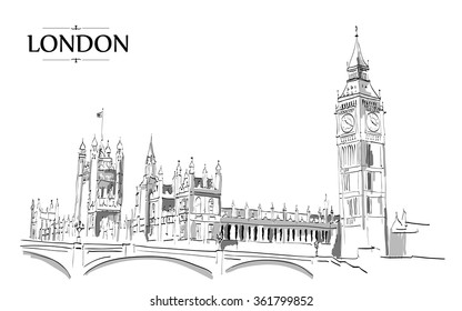Landscape of London - Big Ben Tower. Vector Hand-drawn Sketch Illustration.Vector drawing, freehand vintage illustration