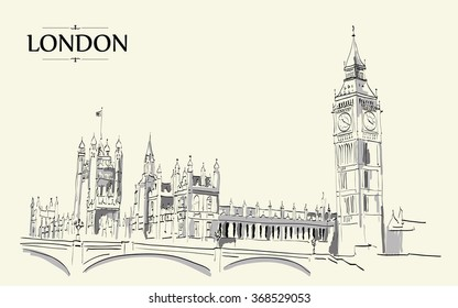Landscape of London - Big Ben Tower. Vector Hand-drawn Sketch Illustration.Vector drawing, freehand vintage illustration