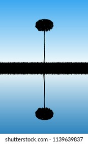 Landscape with lonely tree. Vector illustration with isolated silhouette of maple reflected in water. Blue pastel background