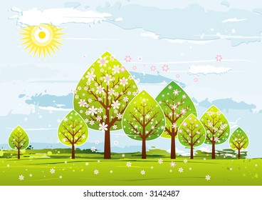 Landscape with many trees, flowers, vector illustration