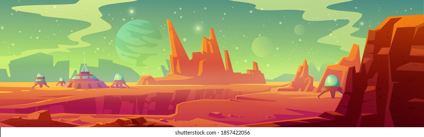 Landscape of Mars surface with colony base. Vector cartoon futuristic illustration of alien red planet surface with dome building, mountains, moon and stars in sky. Galaxy exploration and colonization