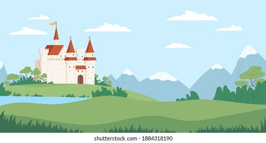 Landscape with medieval castle vector flat illustration. Fairytale fortress near river, mountains and fields. Beautiful scenery with facade of historical building. Panoramic view with royal palace