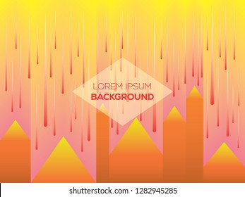 Landscape with meteor shower from the sky. Abstract background