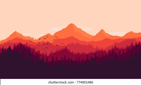 landscape monochrome background of sunset in forest mountains