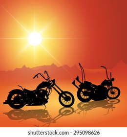 Landscape with motorcycles at sunset. Vector illustration