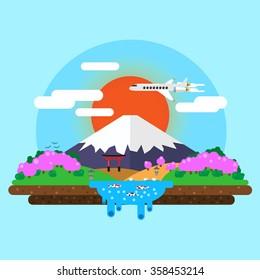 landscape of Mount Fuji at sunrise. torii gates. Vector flat   illustration.
