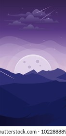 Landscape mountain at night. Fantasy wallpaper smartphone, background, android, iphone