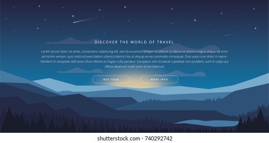 Landscape with Mountain Peaks. Extreme Sports, Vacation and Outdoor Recreation Concept. Pine Forest. Mountaineering and Traveling Vector Illustration.