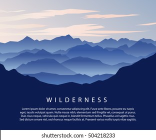 Landscape with Mountain Peaks. Mountaineering and Traveling Vector Illustration. Eps 10 vector. Wilderness in the mountains concept.