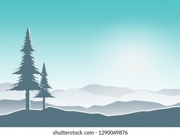 Landscape with mountain and pine on sky background.
