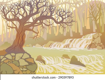 Landscape with mountain river and thick tree. View of the canyon with waterfall and stones