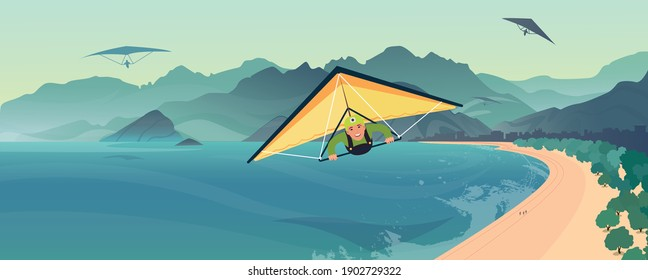 Landscape mountain and sky with paragliding. Paraglider tandem flying over the sea with blue water and mountains in bright sunny day. Aerial view of paraglider and Blue Lagoon.