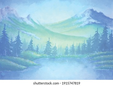 Landscape, mountain and trees . Watercolor hand drawn illustration