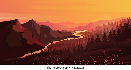 Landscape. Mountains, ascending or a sitting down sun , vector