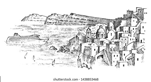 Landscape mountains and buildings in Greece. Ancient antique Greek culture. Double exposure. Hand drawn engraved sketch in vintage style.