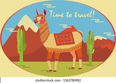 Landscape with mountains, cacti and llama. Background for zoo, tourism, souvenir, card, advertising. Stylized animal character of South America. Lama, vicuna, alpaca, guanaco. Time to travel. Vector