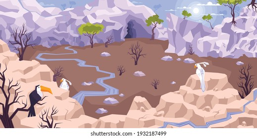 Landscape mountains flat composition with dryland scenery and tableland with brooks surrounded by cliffs with birds vector illustration