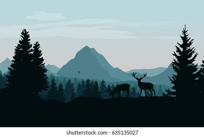 Landscape with mountains, forest and silhouettes of trees and wild deers