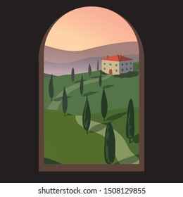 Landscape with mountains and hills through an old window. Tuscany, outdoor recreation background.