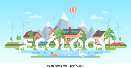 Landscape with mountains - modern flat design style vector illustration on blue background. A composition with nice buildings, people, trees, solar panels, windmills, pond with birds. Ecological theme